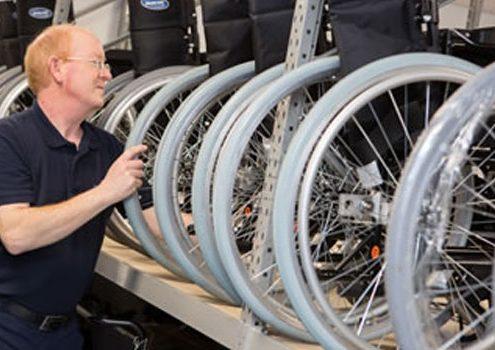 Wheelchair Stored on Longspan Shelving